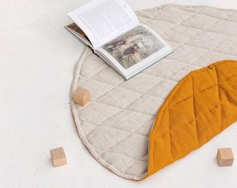 Natural Linen Baby Play Mat, Round Linen Quilted Playing Rug, Two-Sided Linen Nursery Rug, Linen Floor Padded Rug Mattress, Linen Playmat