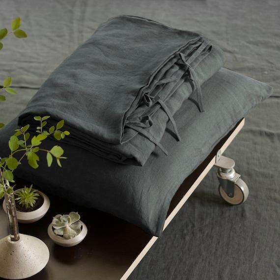 leinen bettbezug grau bettbezug aufgeweicht leinen etsy. Black Bedroom Furniture Sets. Home Design Ideas