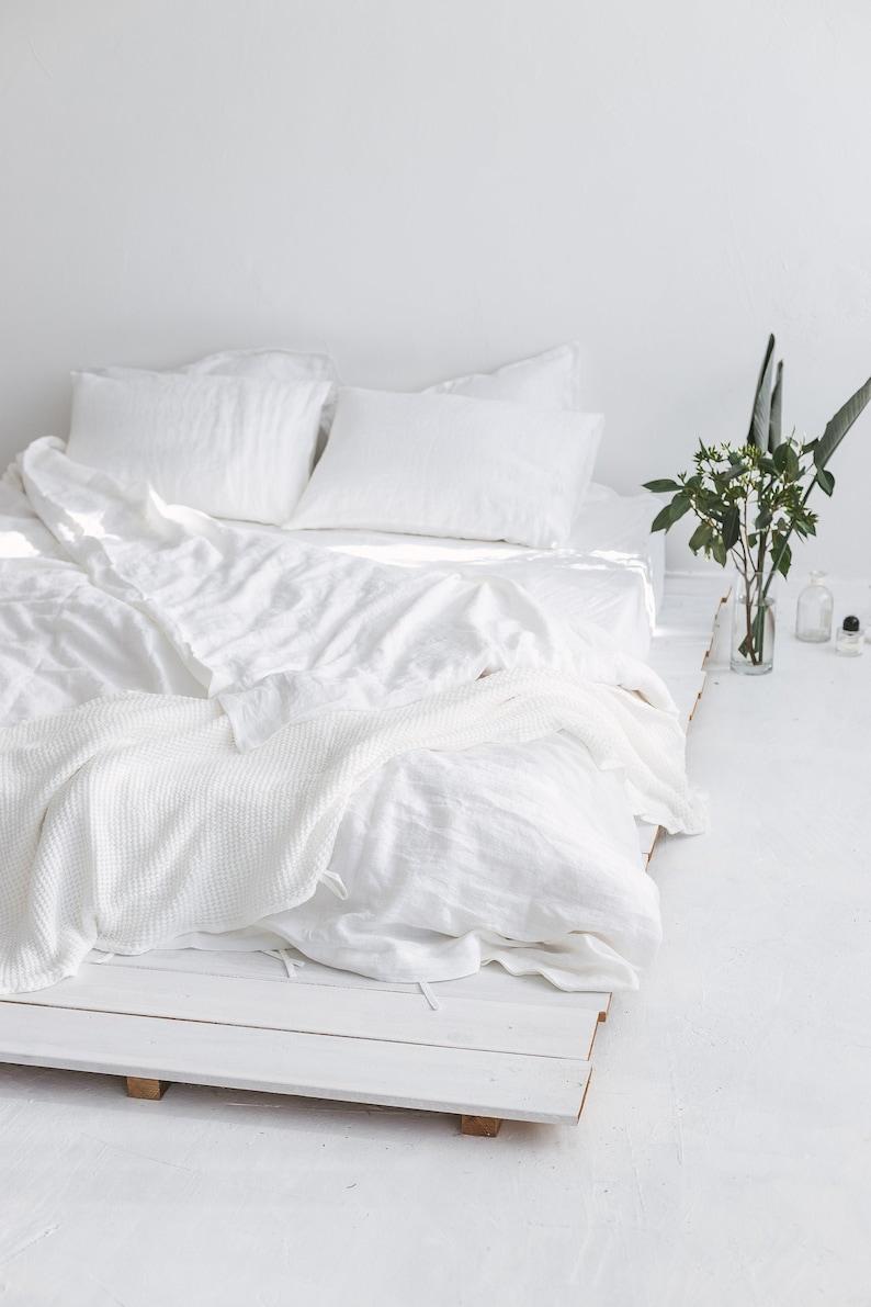 White Linen Bedding Set White Duvet Cover And Pillowcases Etsy