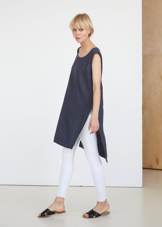 SALE grey linen tunic with pintuck details around shoulder line