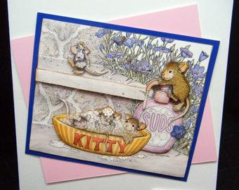Bubble Bath Mice Joanna Sheen design handmade General Greetings card - Funny card - With Love - Cheeky Mice - Cute card