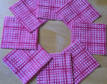 Red Check Quilting Squares 8x8""