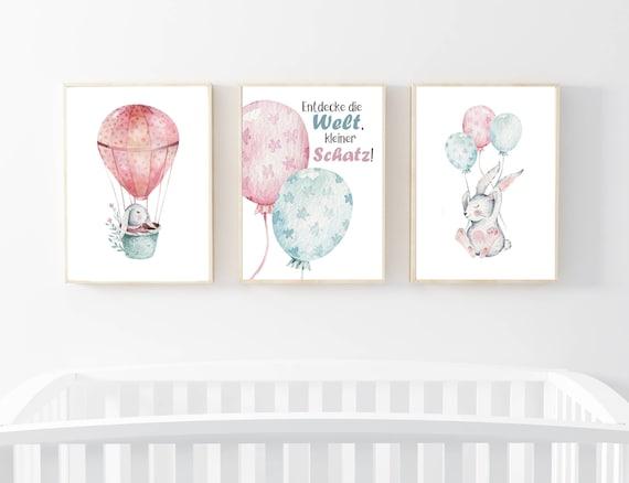 Kinderzimmer Kunstdrucke, Wandbilder Kinderzimmer, Entdecke die Welt Bild,  Babyzimmer Bilder, Wandbilder Mädchen, Pastell Wandbilder, Haase