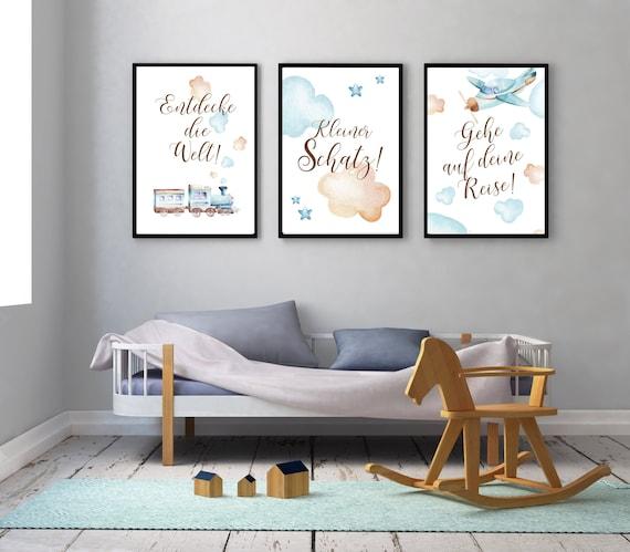 Kinderzimmer Kunstdrucke 3er Set Bilder Wandbilder Junge Wanddeko Baby Zugbild Wolken Flieger Bild Wandbilder Blau Babyzimmer Bilder
