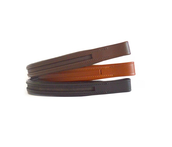 New Empty Channel Leather Browband Black /& Brown Color 6 MM /& 8 MM Free Shipping