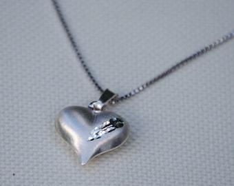 Heart necklace - heart pendant - heart charm - silver heart necklace - silver necklace - 925 silver necklace - love necklace - silver heart