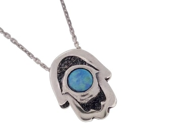 Hand of Fatima - Silver Hamsah hand - Hamsa pendant - Fatima's Hand - Hand of Miriam - Gemstone Necklace - Jewish gemstone - Dainty Necklace