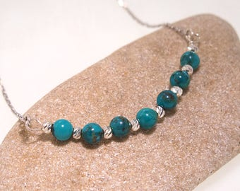 Turquoise necklace - silver Turquoise necklace - Turquoise beaded necklace - beaded necklace - sterling silver necklace - Turquoise jewelry