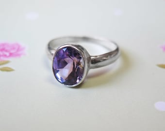 Amethyst Ring, Silver Ring, Birthstone Ring, February Birthstone, Sterling Silver Ring, Purple Ring, Amethyst Jewelry , Big Ring, Boho Ring