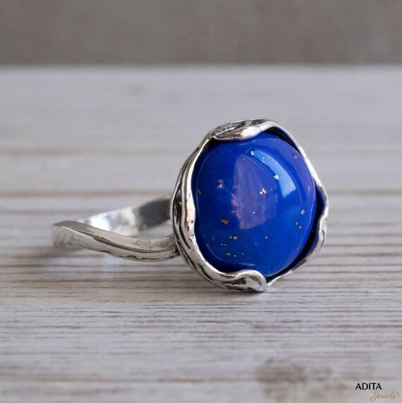 12# Genuine Lapis Lazuli Stone 925 Sterling Silver Handmade Rings