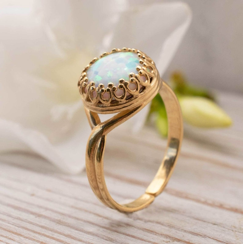 Birthstone Ring Sterling Silver or Yellow Gold Plated Silver Opal /& Diamond Ring
