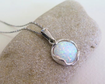 Silver Necklace with White Opal Pendant, 12 Mm Silver opal jewelry Pendant, Dainty Necklace, Opal Necklace, Birthstone Jewelry