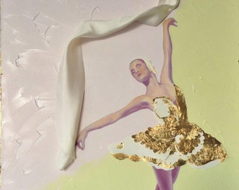 "Golden Sole // Ballet Dancer // Original Mixed Media Painting // by Mandie Aberra //18"" x 24"" // Canvas Art // Dancer Gift"
