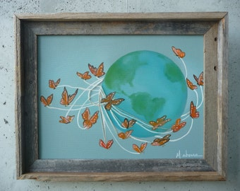 """As the World Flutters By // Oil Painting // by Mandie Aberra // Canvas Art // 12"""" x 16"""" // Mixed Media"""