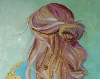 "Golden Strands // Original Mixed Media Painting //  by Mandie Aberra // 18"" x 24"" // Canvas Art"