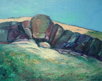 """New Mexico Rocks // Plein Air Painting // Abstract Rocks // Original Oil Painting // by Mandie Aberra // 10"""" x 14"""""""