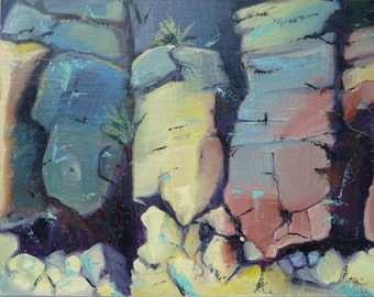 """Taos on the Rocks // Abstract Rock Painting // Original Oil // by Mandie Aberra // 10"""" x 14"""" // Plein Air Painting // Golden Fin Studios"""