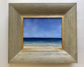 """Clearwater Beach // 8"""" x 10"""" // Original Oil Painting // on Panel // Framed // by Mandie Aberra // Golden Fin Studios"""