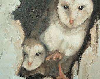 "Australian Owls // by Mandie Aberra // Original Oil // 10"" x 20"" // Owl Painting // Framed"