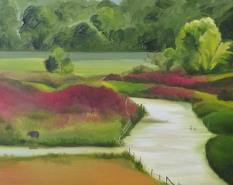 "Adairsville Landscape //Original Oil Painting // Artist Mandie Aberra // 16"" x 20"" // Golden Fin Studios // Canvas Art"