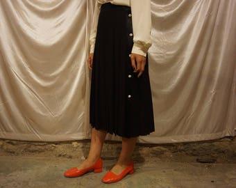 80's Black Wool Pleated Midi Skirt / 27' / S