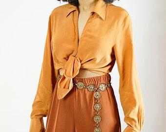 Orange Silk Button Up Blouse / XS / S / M