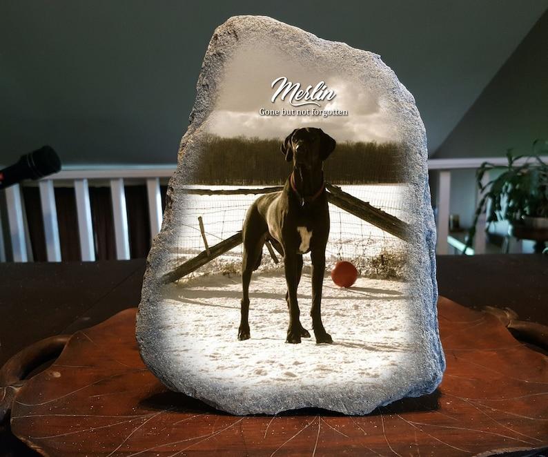 Dog Memorial Stone Natural Rock Photo Transfer