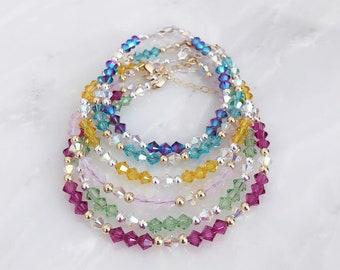 The Amanda ~ Swarovski Crystal Stacker Beaded Bracelet 30+ Colors in  Sterling Silver Gold Filled or Rose Gold Filled 30ec4b9c09