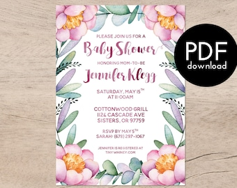 Printable Invitations - Colorful Flower and Eucalyptus Baby Shower Invitation - Custom baby shower, pink flower baby shower invitations