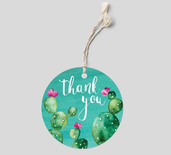 cactus thank you sticker template cactus baby shower etsy