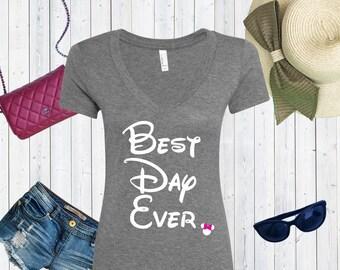 Best Day Ever Disney Inspired V neck Tshirt / High Quality Disneyland Tshirt / Disneyworld Custom Shirt [E0111,E0163]