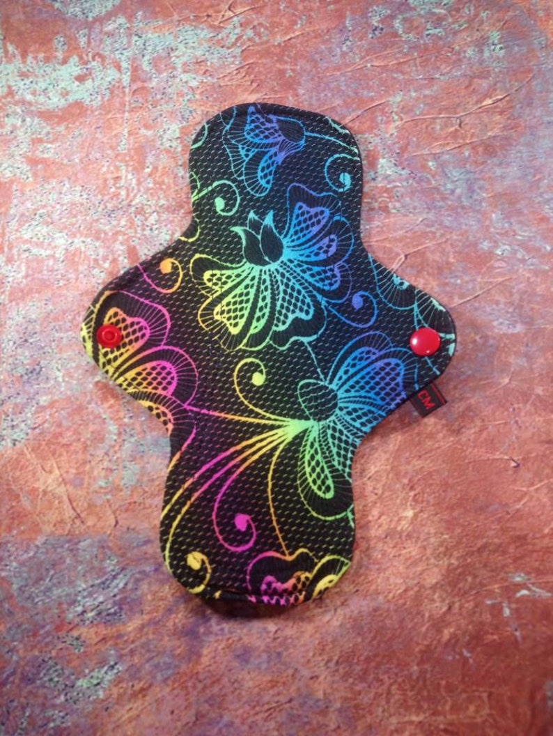 Washable and Reusable Cloth Menstrual Pad Ready Made 9 inch Regular Flow CSP Zorb Cotton Jersey CL Top Zorb3d Windpro Back