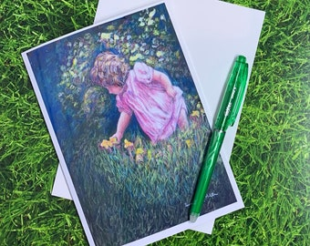 Little girl picking flowers greeting card, Colored pencil and pastel art, 5 x 7 glossy blank card