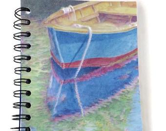 5 x 7 notebook, art journal, spiral bound, medium notebook, soft cover, boat art, color pencil art