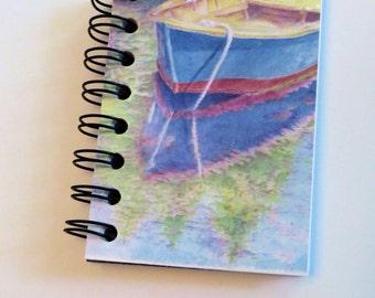 Mini notebook, pocket journal, boat drawing, art journal, spiral bound, color pencil art