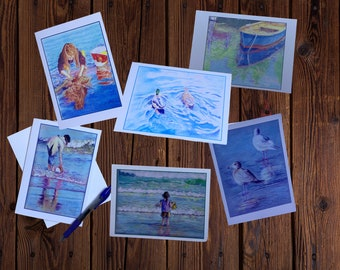 Beach themed boxed set of greeting cards, kids playing at beach, wildlife, assorted 5 x7 blank glossy cards