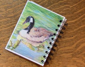 Duck art notebook, art journal, small notebook, spiral bound, soft cover, goose drawing, color pencil art