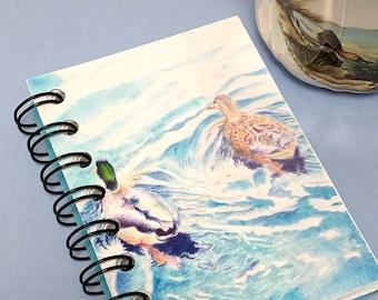 Mini notebook, pocket journal, ducks on pond drawing, art journal, spiral bound, color pencil art