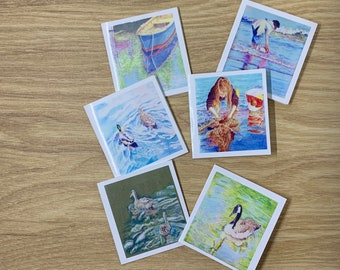 Set of 6 blank mini cards with envelopes, individual images of beach, ducks, children