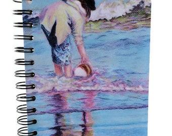 5 x 7 notebook, art journal, spiral bound, medium notebook, soft cover, ocean art, color pencil art