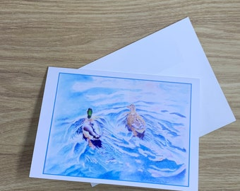 Two ducks swimming on pond greeting card, 5 x 7 blank glossy card with envelope