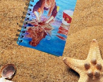 5 x 7 notebook, playing at the beach, art journal, spiral bound, medium notebook, soft cover, ocean art, color pencil art