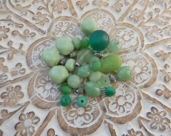 Matching soft green Indian beads glass