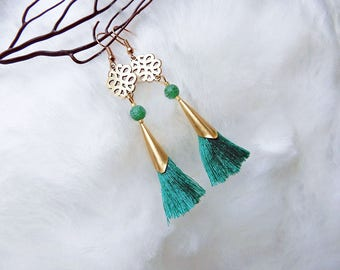 Chinese knot and green Agate tassel earrings