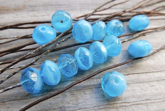4cdc25b643a19 Glass beads Czech Bohemia blue 9x6 mm high-end faceted pumpkin