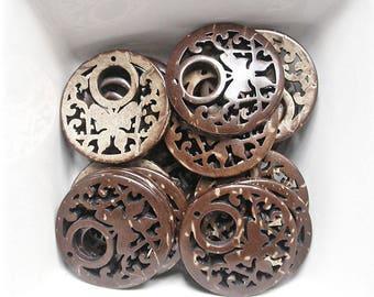 2 pendants openwork and 26mm coconut wood