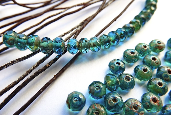 961aa1903d0fa Glass beads Czech Bohemia blue 5x3 mm faceted Donuts