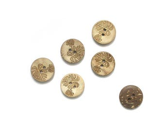 6 pattern sheet 18mm coconut wood buttons