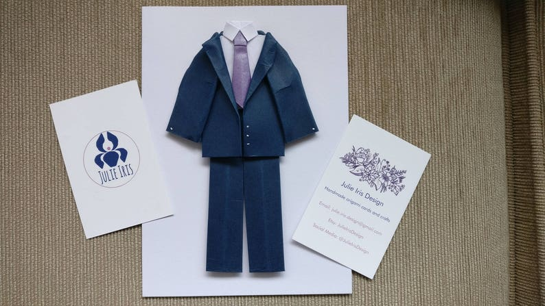 Handmade Paper Origami Suit And Tie Card Birthday