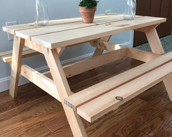 Kids Picnic Table Etsy - Unfinished wood picnic table